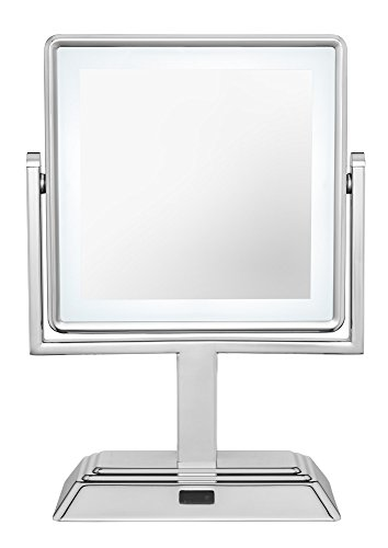 Conair Double Sided Cordless Rechargeable LED Lighted Makeup Mirror, Polished Chrome Finish