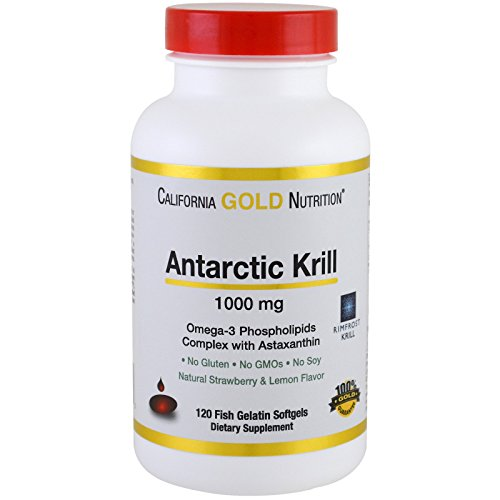 California Gold Nutrition, Antarctic Krill Oil, with Astaxanthin, RIMFROST, Natural Strawberry & Lemon Flavor, 1000 mg, 120 Fish Gelatin Softgels