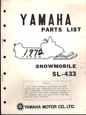 1972 YAMAHA SNOWMOBILE SL-433 PARTS MANUAL READ (746