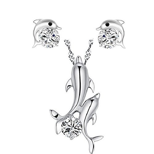 Uloveido White Gold Plated Play Dolphine with Round CZ Crystal Necklace Earrings Fashion Jewelry (Dolphins Brass Mirror)