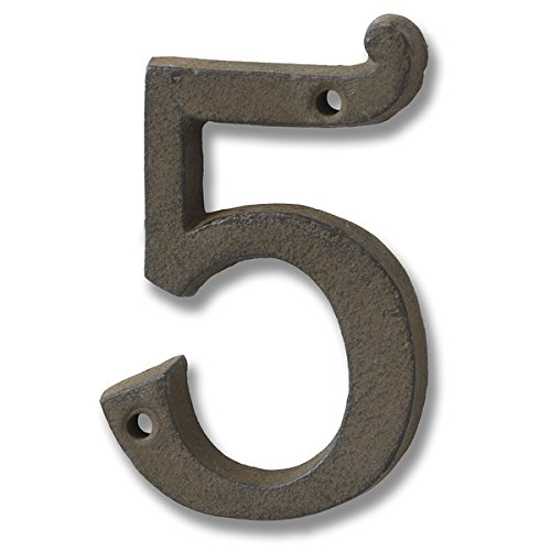 Rustic Brown Cast Iron Number '5' ()