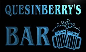 w029836-b QUESINBERRY Name Home Bar Pub Beer Mugs Cheers Neon Light Sign