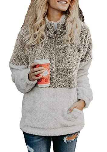 Women Long Sleeve Pullover Soft Fleece Zip Sweatshirt with Pockets Outwear Coat Khaki -