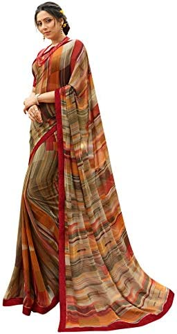 RAJESHWAR FASHION WITH RF Women's Georgette Printed Jacquard Lace Border Work Saree With Blouse Piece(A38 GREY_Multicolored_Free Size 6.30 Mtr)
