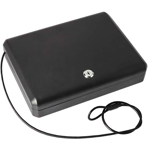 Repplex Metal Frosted Gun Box with Key Lock, Safe Pistol Case with Security Cable, Black, 10 4/5