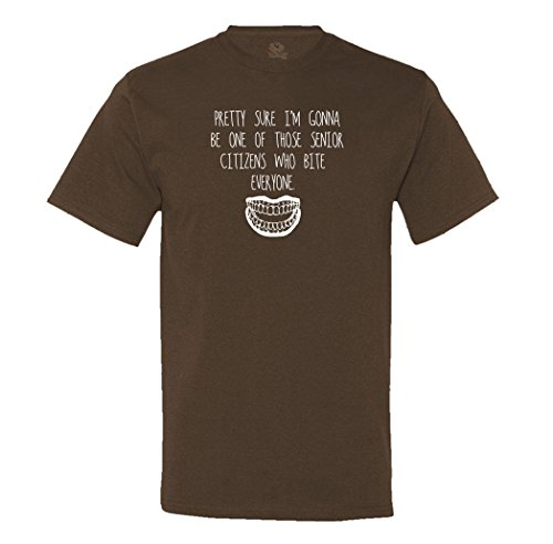 Minty Tees Pretty Sure I'm Going To Be One Of Those Senior Citzens Who Bite Everyone XXXX-Large Chocolate Men's Shirt (Choc Bite)