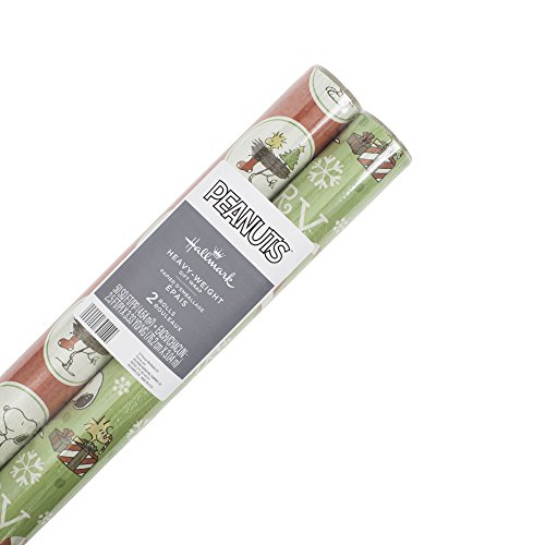 Hallmark Peanuts Holiday Wrapping Paper Bundle with Cut Lines on Reverse, Snoopy and Woodstock (Pack of 2, 100 sq. ft. ttl.) ()