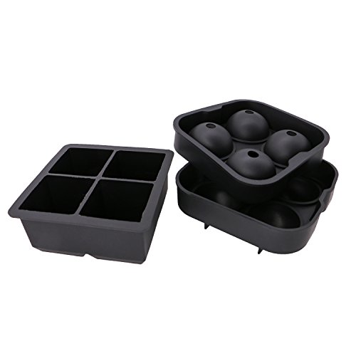 iGraver Ice Cube Trays with Lids Silicone BAP Free, Ice Ball Mold, Reusable Large Ice Cube Trays Molds and Sphere Ice Ball Maker Set of 2 (Lite Dual Vent)