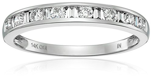 14k White Gold and Diamond Anniversary Band (1/2 cttw, H I Color, I1 I2 Clarity)