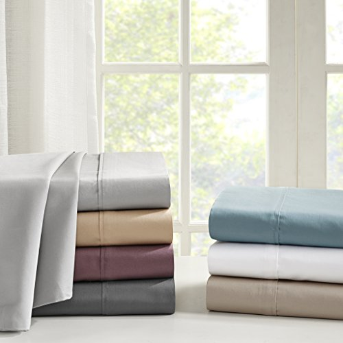 Madison Flat Sheet (Madison Park 600 Thread Count Pima Cotton Sateen Sheet Set, Queen, Plum)