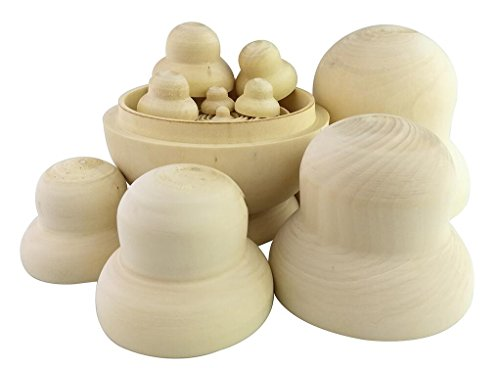 Winterworm DIY Unpainted Blank Wooden Big Belly Shape Russian Nesting Dolls Matryoshka Dolls Set 10 Pieces for Kids Toy Birthday Home Decoration Parent-Child Time by Winterworm (Image #5)