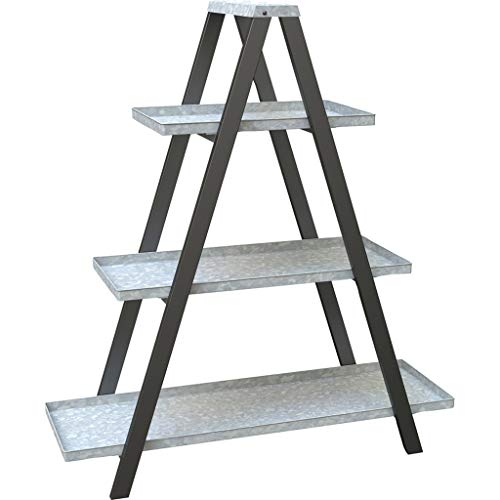 Vintage Ladder A-Frame Stand w/Galvanized Shelves - Outdoor Decor by DPD (Image #1)