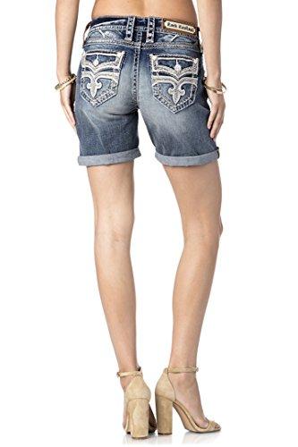 Rock Revival Jeans Women's Maaje RH404 Easy Fit Shorts Fluer De Lis White Stitched (30) by Rock Revival