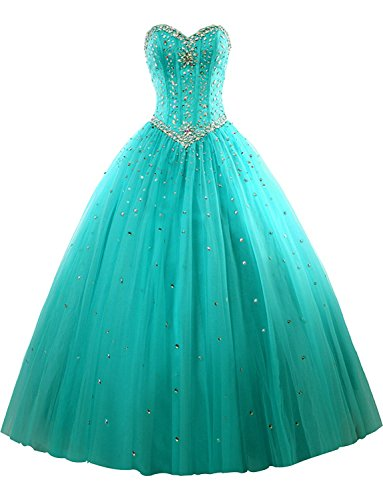 Women's Sweetheart Floor Length Tulle Quinceanera Dresses Formal Prom Dresses Ball Gown Turquoise US24W Beading Sweetheart Neck Floor