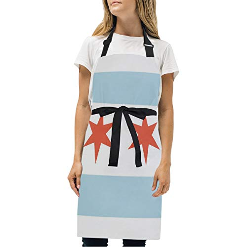 Lecintevro Chicago State Flag City Skyline Adjustable Bib Apron with Pockets, Kitchen Apron for Women Men Cooking Baking BBQ Party Garden Chef -