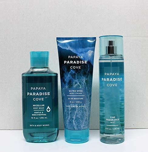 (Bath and Body Works PAPAYA PARADISE COVE (2019 Edition) Micellar Body Wash, Fine Fragrance Mist and Ultra Shea Body Cream)