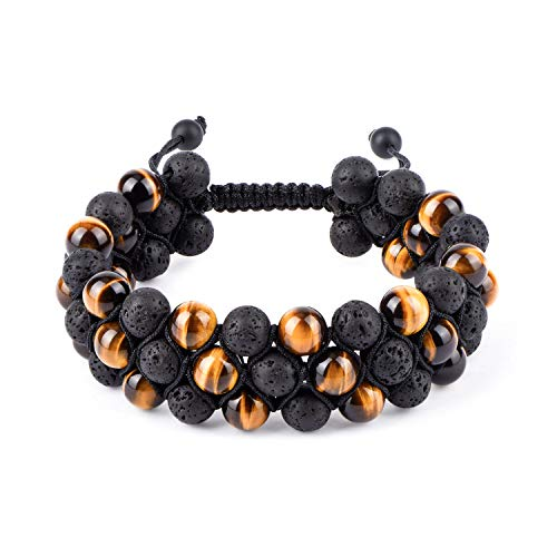 "HASKARE Tiger Eye Stone Bracelet Men Women - Natural Energy Stone Essential Oil Lava Rock Black Onyx Tiger Eye Beads Bracelet Adjustable Couples (Tiger Eye Lava Rock (3-Layers 8mm) 7.2""-11.24"") from HASKARE"