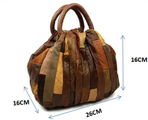 Gray Brown Retro Bag New Fashion Portable Wenl Handbags Genuine Leather Shoulder TzvwxTq61U