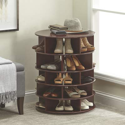 Kotulas Revolving Lazy Susan 5-Tier Shoe Organizer - Stores 25 Pairs, Espresso