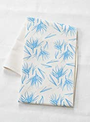 Organic Cotton Pine Needle Design Tea Towel in Sky Blue