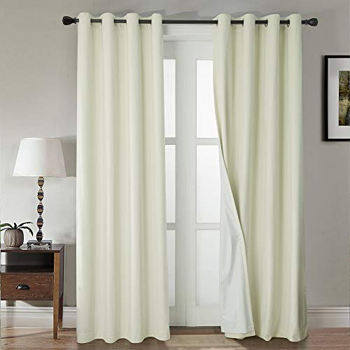 WINDOWFIT Super Soft Luxury Heavy Velvet Set of 2 100% Blackout Grommet Curtain Panel Drapes with Heavy Microfiber Lining (Ivory, 52