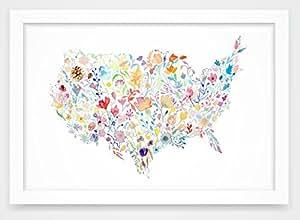 "Floral Watercolor USA Map Art Print Decor - Botanical Flowers US Design - Unframed Premium Paper 8x10"" by Chasing Linen"