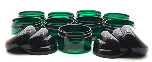 J&S Empty Gift Jars - 4oz Plastic Containers With Lids - Clear 4 Ounce Slime Containers and Beauty Products Jars - BPA Free - 9 Pack (Green) (Green Glass Jar)