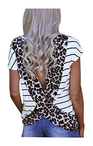 HDLTE Women Open Back Blouse Stripe Leopard Printed Short Sleeve T Shirt Casual Summer Tee Top (Leopard, M)