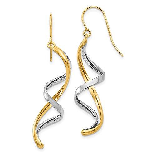 14k Two Tone Yellow Gold Drop Dangle Chandelier Earrings Fine Jewelry Gifts For Women For Her