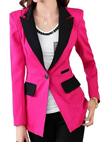Pivaconis Women Slim Fit One Button Suit Casual Color Block Mid Long Blazer Jacket Coat Rose Red X-Small ()