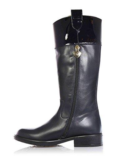 Armani Blaue Stiefel aus Leder, seitlich ein Reißverschluss, goldener Metallanhänger mit Logo, Mädchen