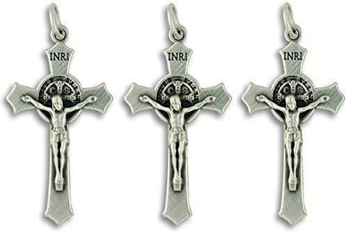 (Lot of 3 Saint St St. Benedict Crucifix Cross Pendants 1.5