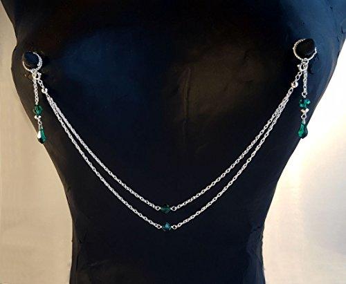 Arabesque Body Jewelry No Pierce Nipple Chain jewelry set Sterling Silver Swarovski Crystal Faux piercing by Arabesque Body Jewelry