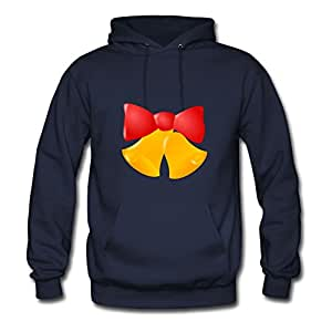 Ebolam X-large Round-collar Navy Hoody - Bells With Red Bow Image,women
