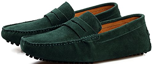 Abby Mens QZ-2088 Fashion Comfort Cozy Cosiness Message Chirismus Driving Flat Leather Shoes Green GiTr8Gdp