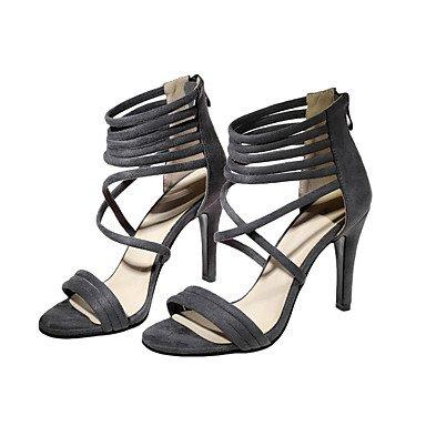 LvYuan Mujer Sandalias Semicuero Primavera Verano Otoño Cremallera Tacón Stiletto Negro Gris Verde Ejército Borgoña 7'5 - 9'5 cms Black
