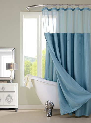 Dainty Home CSCDLBL Waffle Shower Curtain Complete Shower Curtain,Blue by Dainty Home