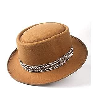 2019 Mens Womens Hats Unisex Men Women Flat Top Pop Church Soft Autumn Winter Fashion Women Flat Top Hat Winter Wide Brim Hat Wool Trilby Fedora Hat Panama Hat (Color : Khaki, Size : 58)