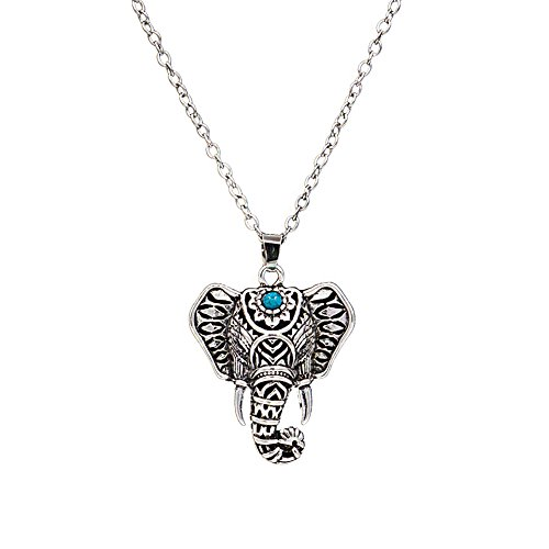 ZEALMER Vintage Silver Good Luck Elephant Owl Necklace Pendant Feathers Chain -