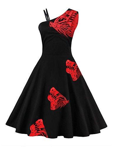 Línea Hombro Camiseta De La Longitud La Vestido Partido Una Imprimir Funda Una De Mangas Sin Rojo Mujer De JIALE3536 Rodilla Vestido HqSw88