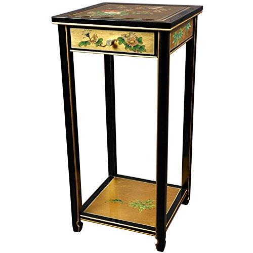 ORIENTAL FURNITURE Oriental Pedestal - Gold Leaf Birds and (Floral Plant Stand)
