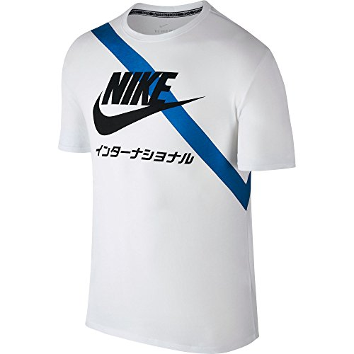 Nike International Sash Men's Short Sleeve T-Shirt White/Blue/Black 833244-100 (Size 3X)