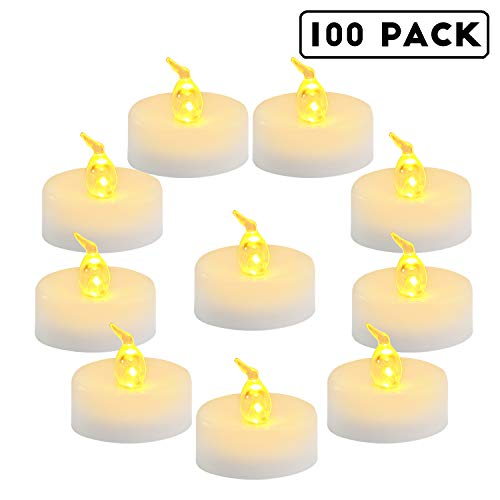 Homemory 100 Pack Battery Tea Lights Bulk Flameless Flickering Tea Candles Long Lasting Battery Life Amber Yellow Ideal For Votive Halloween Parties
