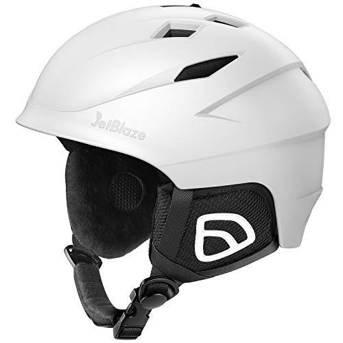JetBlaze Ski Helmet, Snowboard Helmet, Snow Helmet for Men Women Youth (White, M)