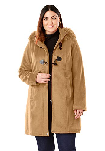 Jessica London Women's Plus Size Faux Fur Toggle Coat - Camel, 18 W (Toggle Faux Coat Fur)