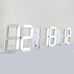 Chihai Large Silent Multifunctional LED Digital Wall Clock Plus with Remote Control(White Shell White Digital,6 digits)