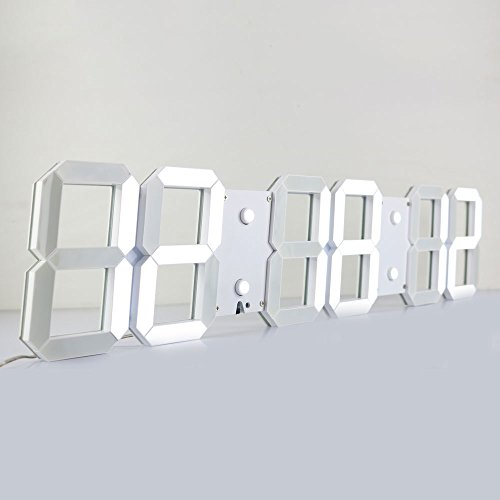 Chihai Large Silent Multifunctional LED Digital Wall Clock Plus with Remote Control(White Shell White Digital,6 digits) Giant Led Clock