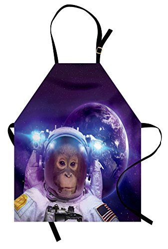 Ambesonne Space Apron, Astronaut Monkey on Outer Space with Planet Earth Background Humor Image Print, Unisex Kitchen Bib Apron with Adjustable Neck for Cooking Baking Gardening, Violet White (Earth Day Apron)