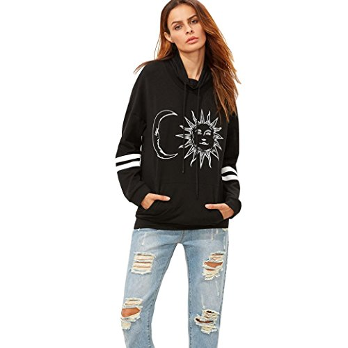 [TOOPOOT Sun and Moon Print Turtleneck Fleece Pullover Sweatshirt for Womens (XL)] (Chinese Doll Halloween Costume)