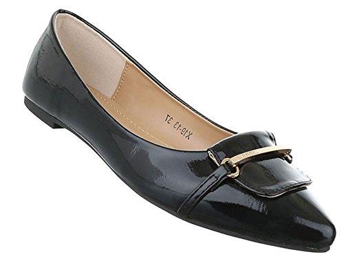 Damen Ballerinas Schuhe Flats Slipper Pumps Slip On Schwarz 36 37 38 39 40 41 Schwarz